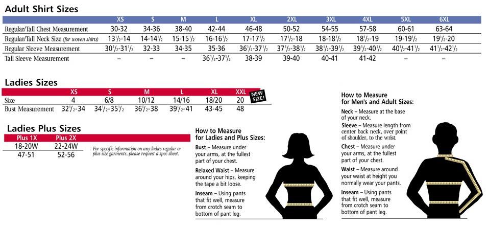 Size Chart: TRUE NORTH